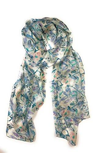 Z&HTrends Womens Genuine Silk Scarf (small, Perennial Heaven) (Perennials Fabric)