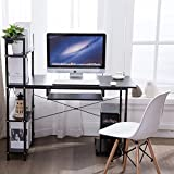 Office Desktop Laptop Computer Compact Desk with 4 Shelves, Home Study Writing Table with Storage (Black)