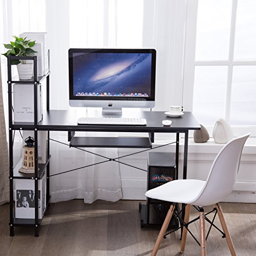 Office Desktop Laptop Computer Compact Desk with 4 Shelves, Home Study Writing Table with Storage (Black) by Homemark