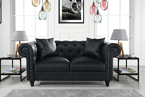 Divano Roma Furniture Classic Living Room Bonded Leather Scroll Arm Chesterfield Loveseat (Leather Sofa Loveseat Living Room)