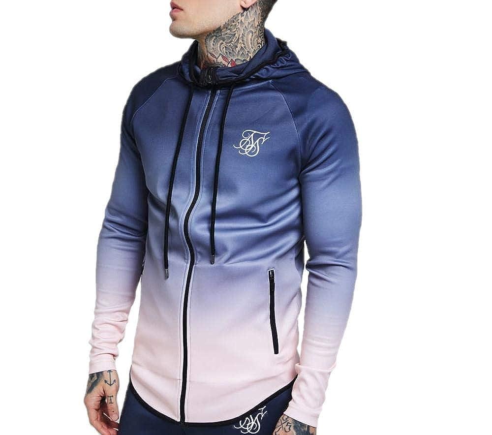 Sik Silk Athlete Zip Through Hoodie – Grey & Pink (M): Amazon.es ...