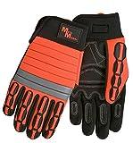 Meta-MIner 488MB Hi-Viz Professional Reinforced Palm Mining Gloves, M, Black Palm, Fluorescent Orange Back
