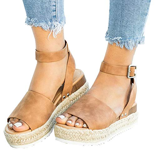 Ymost Womens Wedges Sandal Open Toe Ankle Strap Trendy Espadrille Platform Sandals Flats