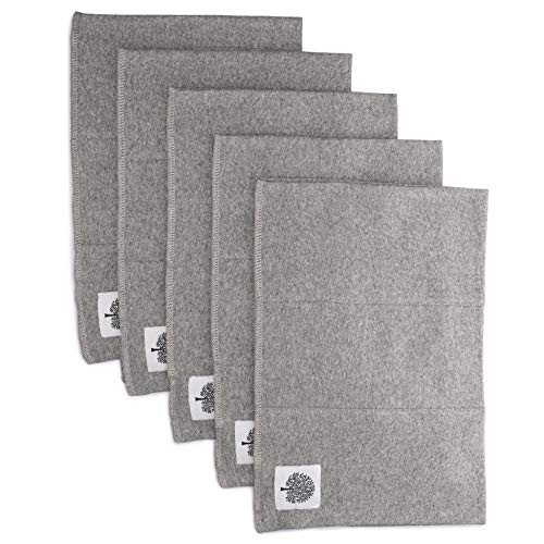 Parker Baby Organic Burp Cloths - 5 Pack Large Cotton Burp Clothes for Boys, Girls, Unisex - Heathered Gray