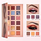 18 Colors Eyeshadow Palette- Matte Shimmer Glitter Highly Pigmented Makeup Palette Set with Mirror- Waterproof Long-lasting Colorful Eye Shadows Cosmetics (18 Colors)