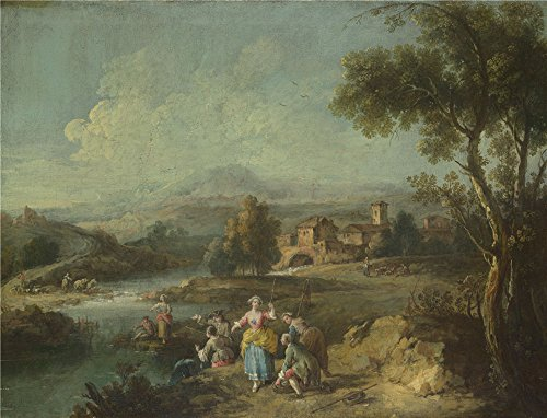 [Oil Painting 'Giuseppe Zais Landscape With A Group Of Figures Fishing ' Printing On Perfect Effect Canvas , 24 X 31 Inch / 61 X 80 Cm ,the Best Study Gallery Art And Home Gallery Art And Gifts Is This Amazing Art Decorative Prints On] (Tin Foil Robot Costume)