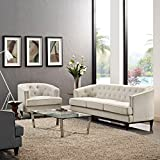 Modern Contemporary Urban Design Living Lounge Room Sofa Set ( Set of Two), Beige, Fabric