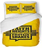 Emvency Bedsure Duvet Cover Set Closure Printed Decorative Faith Weights and Protein Shakes Inspiring Workout and Fitness Gym Motivation Breathable Bedding Set With 2 Pillow Shams Twin Size