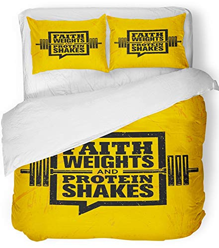Emvency Bedsure Duvet Cover Set Closure Printed Decorative Faith Weights and Protein Shakes Inspiring Workout and Fitness Gym Motivation Breathable Bedding Set With 2 Pillow Shams Twin Size by Emvency