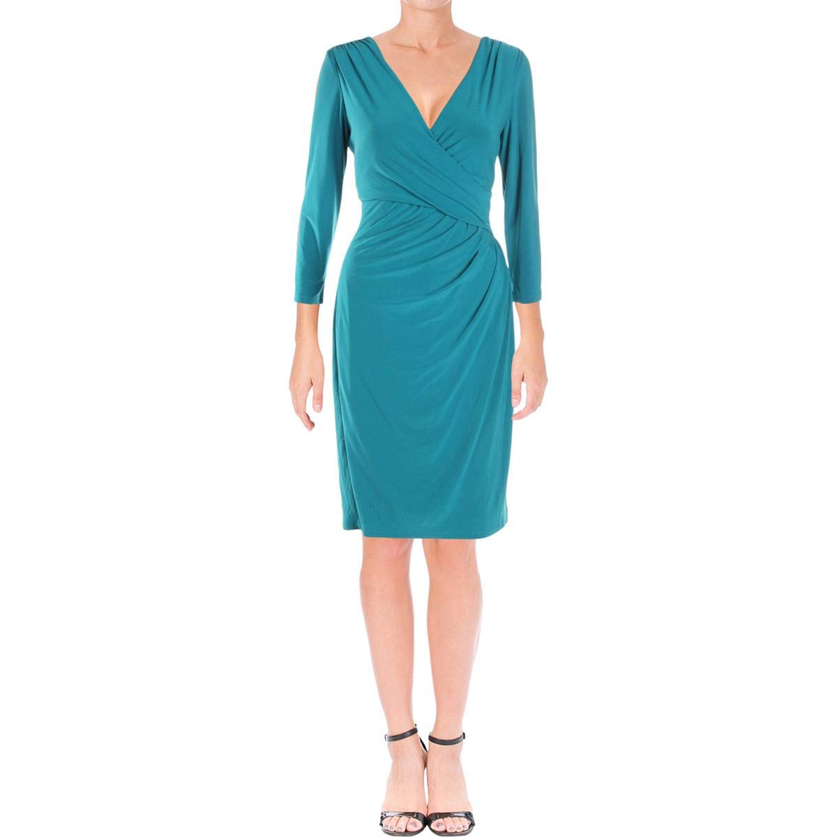 Lauren Ralph Lauren Womens Shirred KneeLength Party Dress Green 10