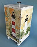 Kensington Row Coastal Collection Bathroom Accessories - Coastal Lighthouse Wooden Toilet Paper Storage Container - Nautical Decor - Slightly Damaged