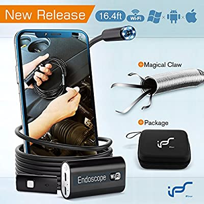 Endoscope Camera Android Waterproof WiFi Inspection Camera Wireless Iphone 2.0MP USB Endoscope Borescope Camera IOS Endoscope Snake Camera with Flexible Grabber 16.4ft(5M)