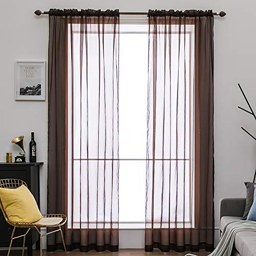 MIULEE 2 Panels Solid Color Sheer Window Curtains Elegant Window Voile Panels/Drapes/Treatment for Bedroom Living Room (54X54 Inches - Color Panel Short