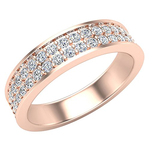 Men's I I1 Diamond Wedding Band 0.75 ctw Two-Row Half Way Men's 14K Rose Gold 5mm (Ring Size 7) by Glitz Design