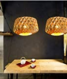 Arturesthome Wood Diamond Grinding Handmade Pedant, Dining Room Droplight