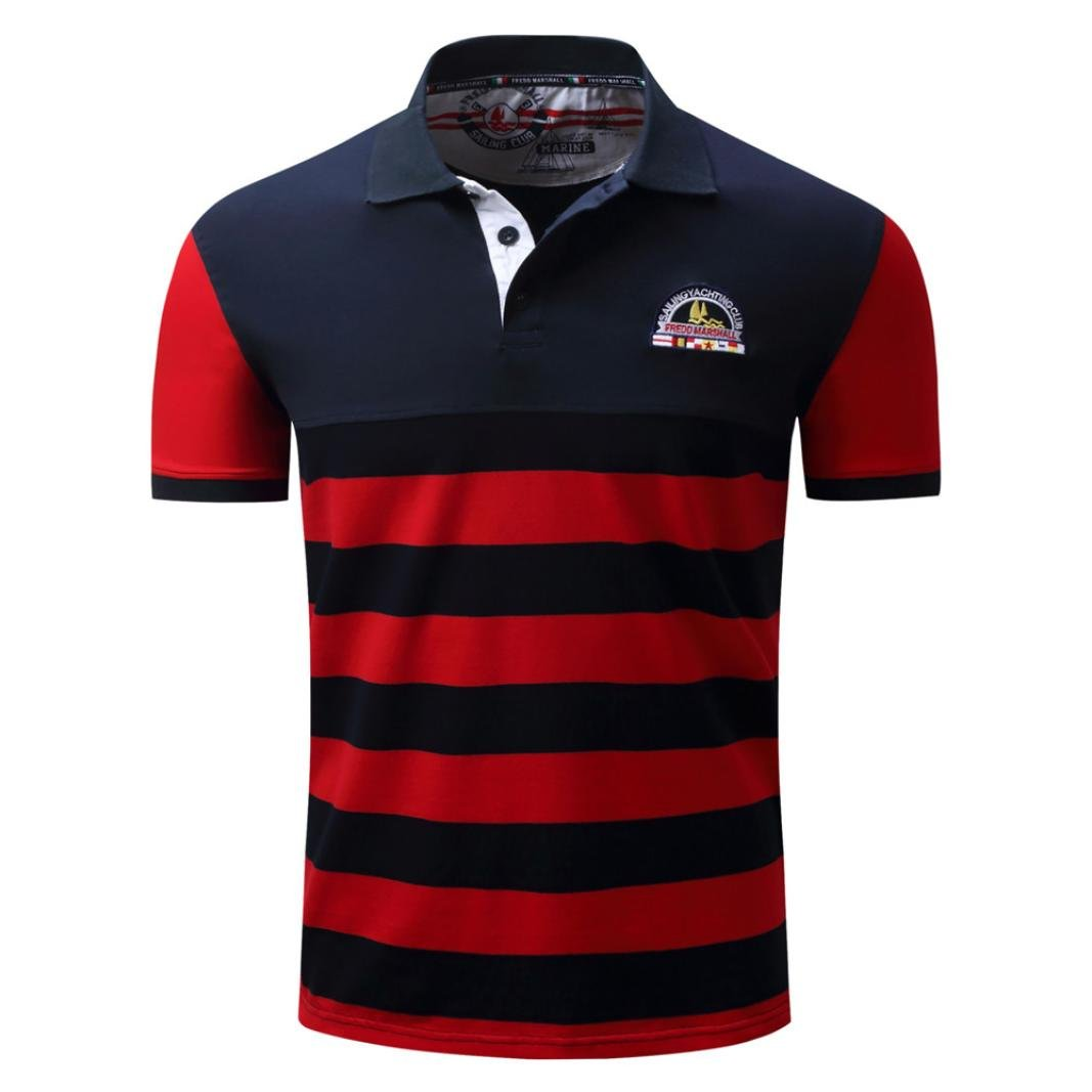Mose Polo Shirts for Men Fashion Men Stripe Casual Button Splicing Pullover Short Sleeve T-Shirt Top Blouse (Red, M)