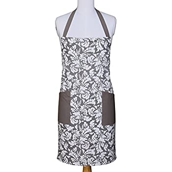 Yourtablecloth Kitchen Apron for Women and Men 100% Cotton, Adjustable Size, 2 Side Pockets-Preferred Choice for Chef Aprons & Ideal for Home Chefs Too-be it Baking, Cooking, Barbecuing-Gray