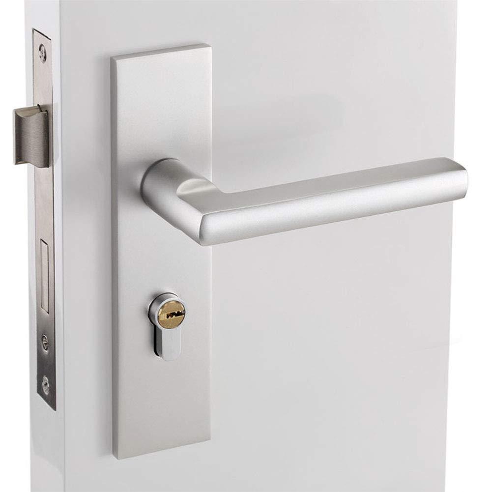 ETbotu Aluminum Alloy Door Handle Front Back Lever Lock Cylinder + Keys in Indoor