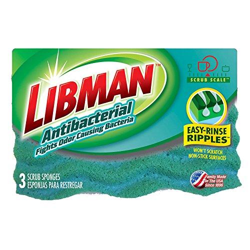 Libman 1079 Antibacterial Sponge with Odor-Resistance, 4.5 Surface (3 Pack)