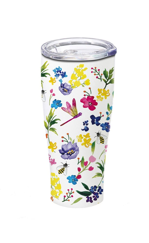 Cypress Home Garden Collage Stainless Steel Hot Beverage Travel Cup, 17 ounces