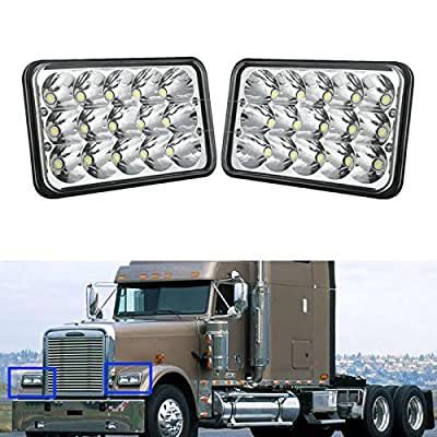 4X6 Inch LED Headlights for Trucks Cars GMC C1500 C2500 Suburban C3500 G2500 High and Low Beam 6000K Super Bright White Rectangular Clear Sealed Beam Bulb Replacement Kit H4651 H4652 H4656 H4666 H6545: Automotive