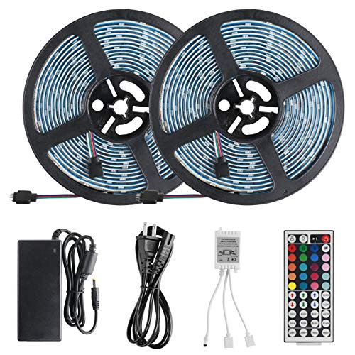 Laimante Led Strip Lights, DC12V 32.8ft (10M) 5050 300LEDs RGB Waterproof Led Tape Light, Stronger 3M Sponge Adhesive Tape with Remote Controller and UL Listed Power Supply for Bedroom Kitchen TV