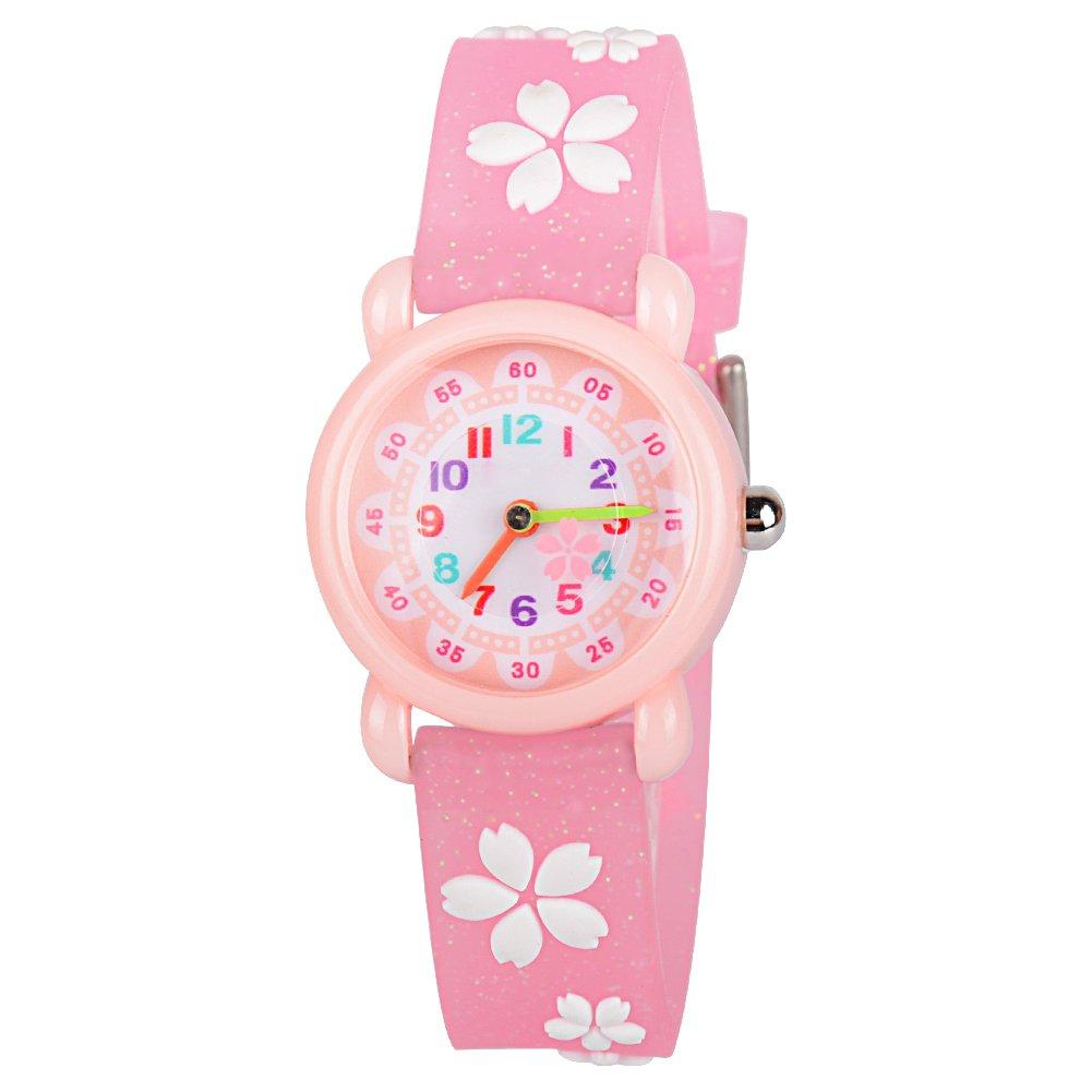 Venhoo Kids Watches Cartoon Waterproof Silicone Children Wristwatches Time Teacher Gifts for Girls (Pink Sakura)