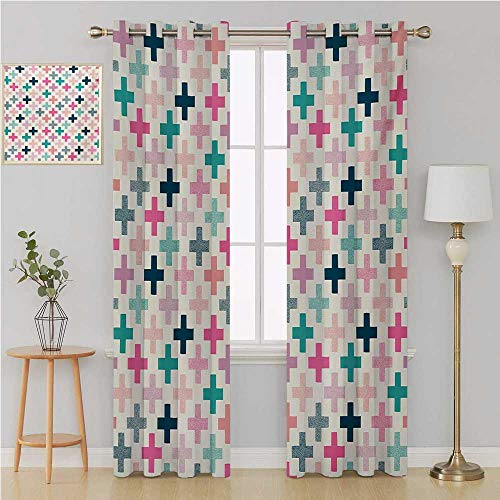 (Benmo House Teal and White grommit Curtain Patterned Drape for Glass DoorColorful Cross Shapes Dotted Design Hipster Feminine Girls Fun Art Graphiccurtains 96 by 108 InchMulticolor)