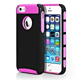 iPhone 5S Case, MagicMobile® Hard Shockproof Fashion Cute [Drop Protection] Case for iPhone 5 Impact Resistant Hybrid Thin Armor iPhone 5 Case ( Black / Hot Pink ) with Clear Screen Protector and Stylus