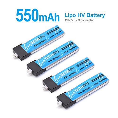 4pc 550mAh 1S Lipo HV Battery 3.8V 25C JST2.0 for Tiny Drone like Inductrix FPV Plus RTF