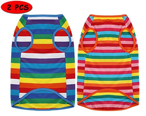 Uvoguepaw Dog Shirts Rainbow Striped Clothes for Small Medium Large DogsM