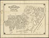 Historic Map   ca. 1890 Plan of the Highlands, the property of the Vineyard Grove Co : Cottage City, Mass   Antique Vintage Reproduction