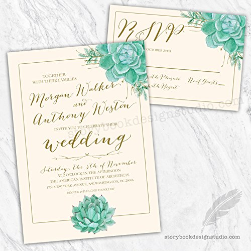 Succulents Wedding Invitations and RSVP Cards (Set of 10) Envelopes Included -