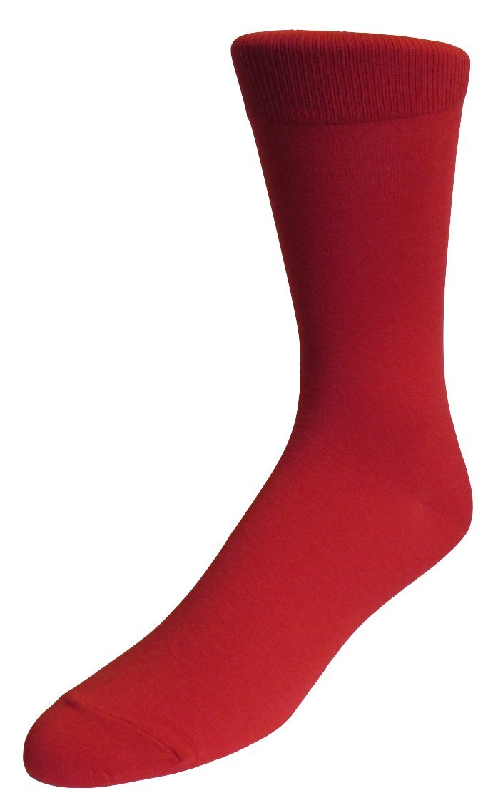 Fine Fit Men's Fancy Colorful Solid Cotton Socks (3 Pairs) (Solid Red)