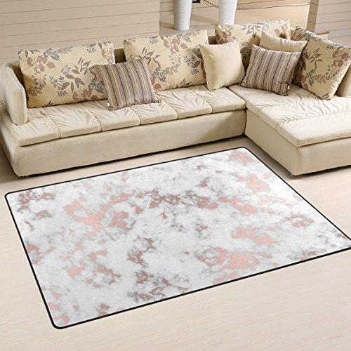 (WellLee Area Rug 5'x3',Marble With Rose Gold Floor Rug Non-slip Doormat for Living Dining Dorm Room Bedroom)