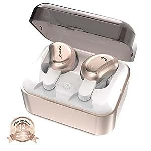 True Wireless Bluetooth Earbuds MAOKOT Truly Wireless Stereo Headphone Mini Twins Dual In-Ear Noise Cancelling Sweatproof Earphones with Charging Case(Gold)