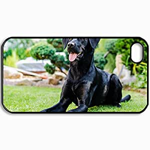 Customized Cellphone Case Back Cover For iPhone 4 4S, Protective Hardshell Case Personalized Dog Black Snout View Looks Greens Trees Black