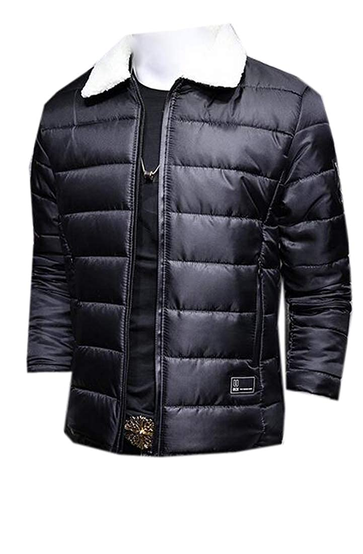 Jofemuho Men Winter Thicken Faux Fur Collar Pure Color Down Quilted Jacket Coat Outwear