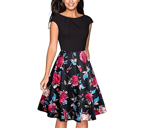 Ygosoon Vintage Brief Solid Color Elegant O-Neck Cap Sleeve Business Women Flare Swing Dress A067 Black and Red Flower L