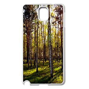 {Funny Series} Samsung Galaxy Note 3 Case Leafless Birch Forest, Protection Cute Case Okaycosama - White