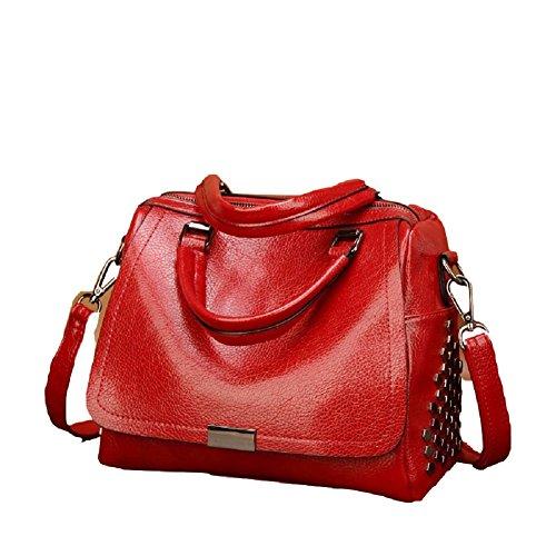 Ladies Mujer Vintage De Cuero Color Gran Un Remaches Capacidad Negro Tamaño Bolso Solid Negocios Viaje Fuweiencore Rojo Mano color Hombro Tamaño I5dqI
