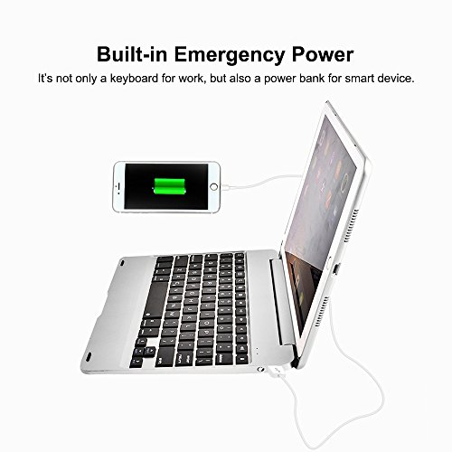 MOSTOP iPad Air 2 iPad Pro 9.7-inch Keyboard Bluetooth 7-color LED Backlit Slim Aluminum Wireless Keypad with Built-in 2800mAh Power Bank for iPad Air 2/iPad Pro 9.7-inch (Silver) by MOSTOP (Image #4)'