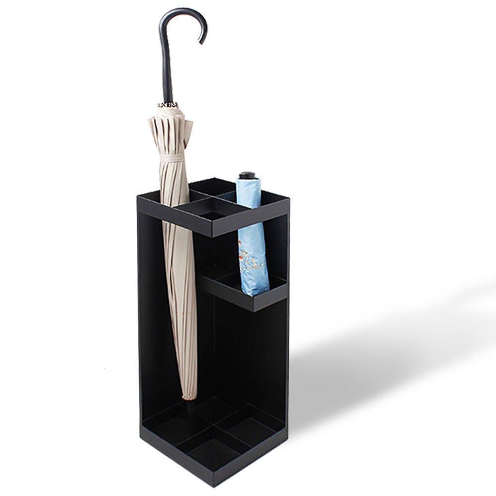 BLACK QFFL yusanjia Continental Simple Creative Umbrella Stand Household Office Hotel Umbrella Bucket Household Layered Umbrella Storage Rack 20  20  50 cm Umbrella Holder (color   Black)