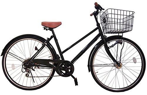 Lupinusルピナス 自転車 26インチ LP-266TA シティサイクル シマノ製外装6段ギア オートライト ブラックリム 100%完成車 B01EA97MOSブラック