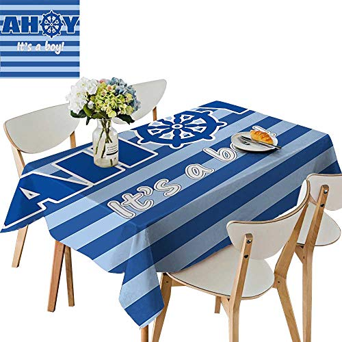 (UHOO2018 Square/Rectangle Indoor and Outdoor Tablecloth a Boy Baby Shower New Birth Announcement Marine Wheel Striped Backdrop Light Blue Restaurant Party,52 x 108inch)