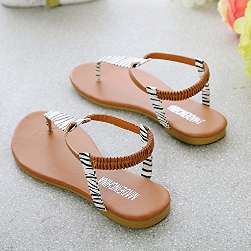 Sandalias de vestir, Ouneed ® Moda mujer verano los zapatos planos Chanclas Sandalias Bohemia Blanco