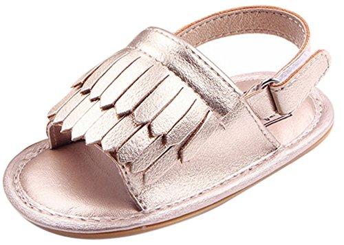 La Vogue Sandalias Bebé Zapatos Primeros con Borlas Argénteo Talla12/11.5cm