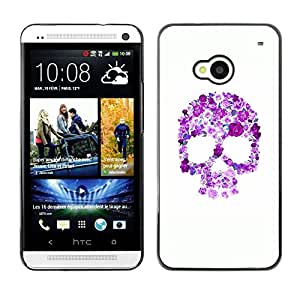 All Phone Most Case / Hard PC Metal piece Shell Slim Cover Protective Case Carcasa Funda Caso de protección para HTC One M7 Floral Purple Skull White Pink Spring