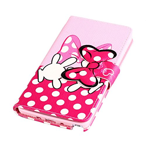 Yakamoz Lovely Cute Pink Bow Bowkot Glove Leather Flip Wallet Stand Case with Card Slots for Samsung Galaxy Note 4 N910 with Free Screen Protector & Stylus Pen