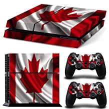 Ps4 Playstation 4 Console Skin Decal Sticker Canada Flag + 2 Controller Skins Set